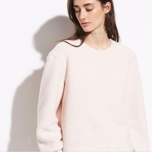 VINCE Cozy Fleece Pullover in Soft Pink